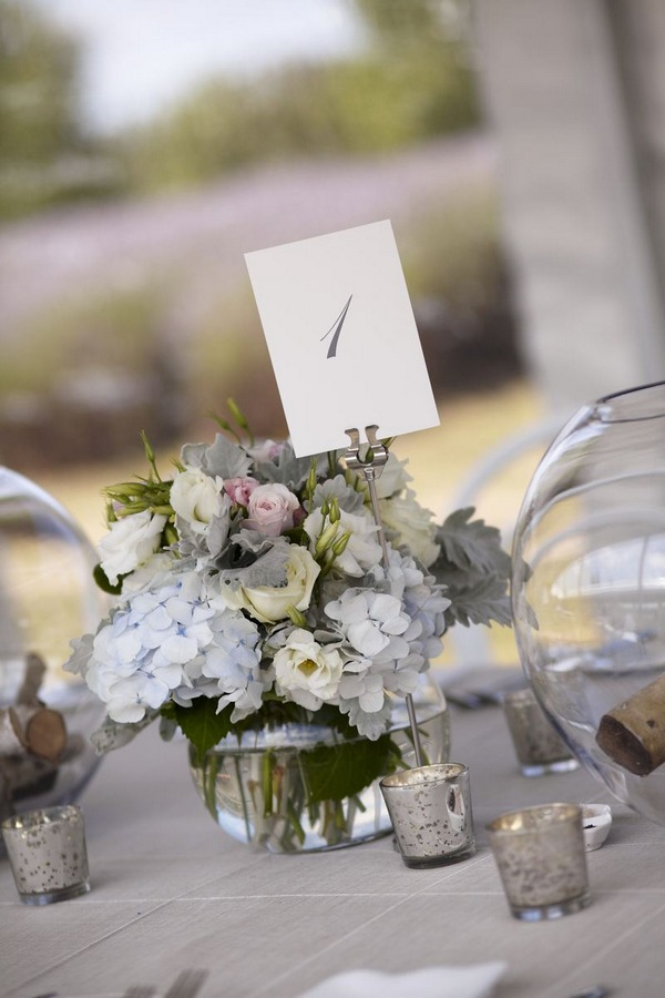 Neutral wedding table flowers