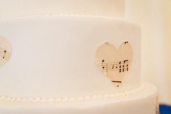 Sheet music heart on side of wedding cake