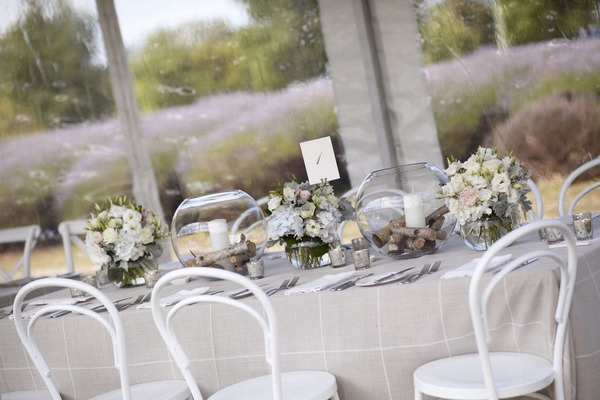 Neutral wedding table decor