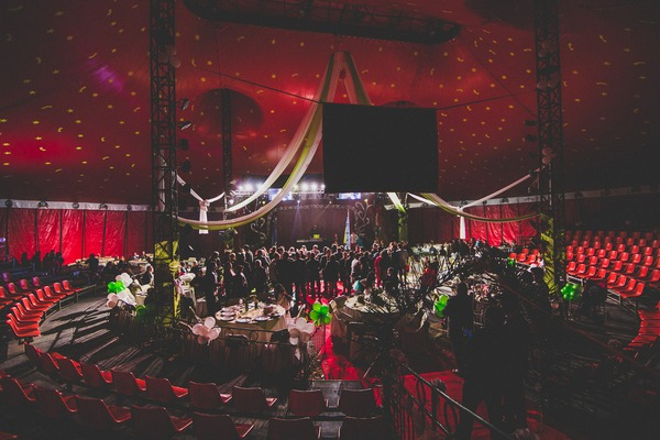 Wedding party in circus tent