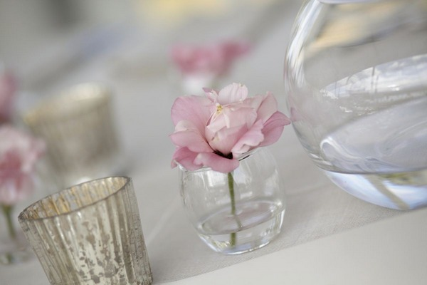Small pink flower on wedding table