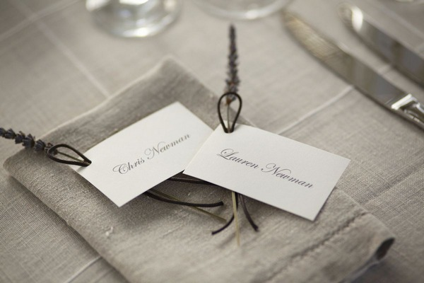 Bride and groom wedding place cards