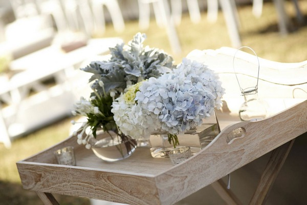 Neutral coloured wedding table flowers