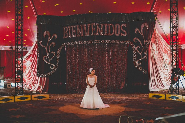 Bride on circus stage