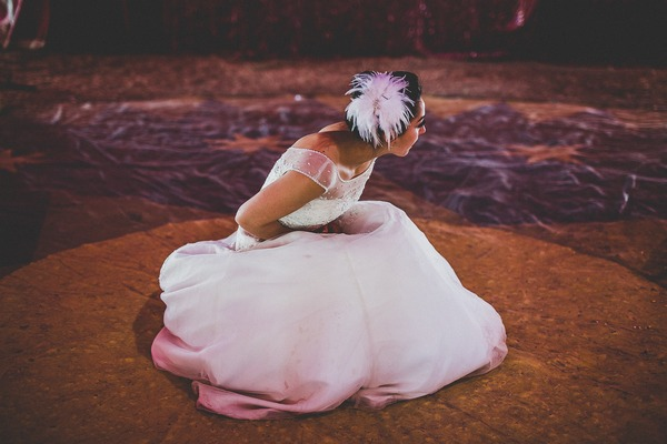 Bride crouching