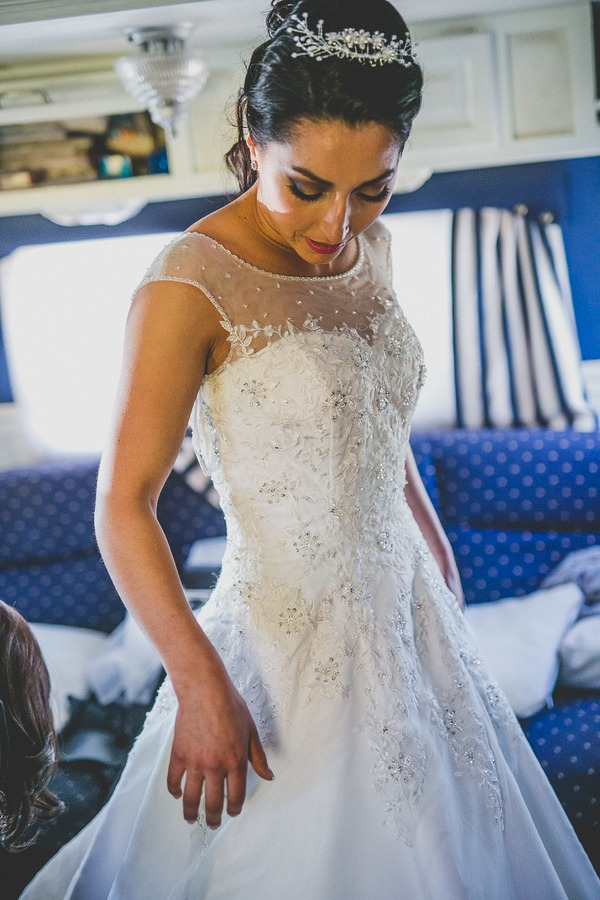 Bride wearing La Casa Blanca wedding dress