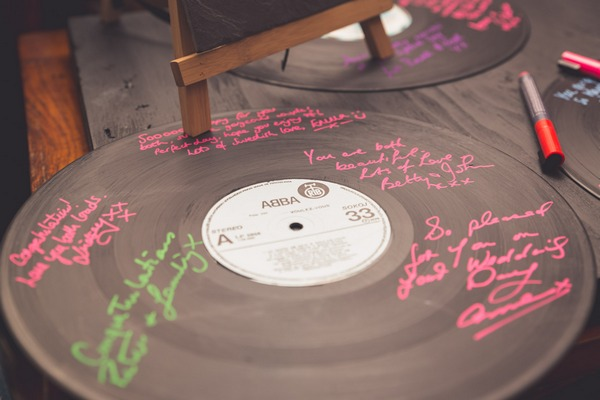 Vinyl record signed by wedding guests