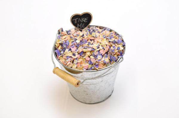 Shropshire Petals Chalkboard Heart Peg in Silver Confetti Pail