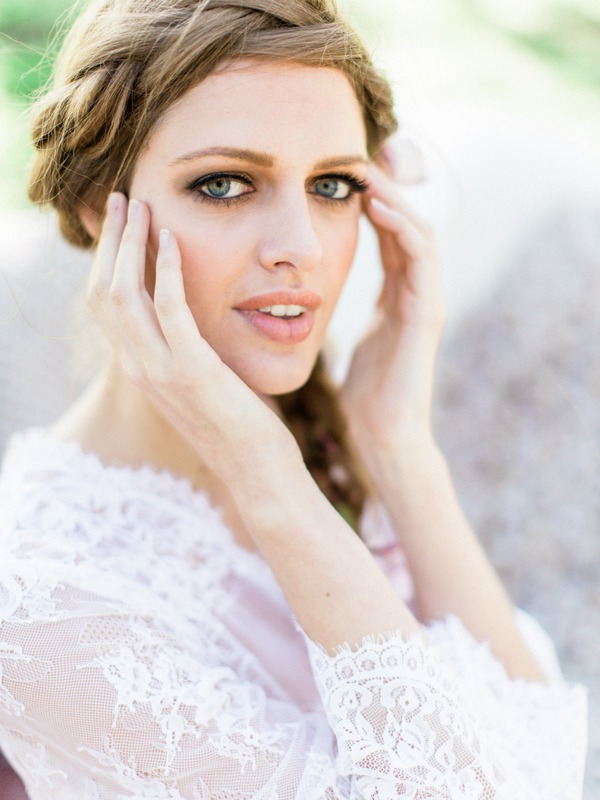 Bohemian bride with plait hairstyle