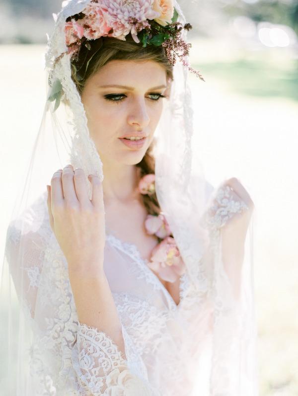 Bohemian bride with lace veil