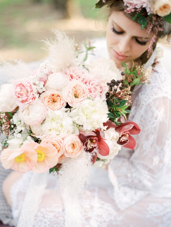 Large pastel wedding bouquet with peonies and roses
