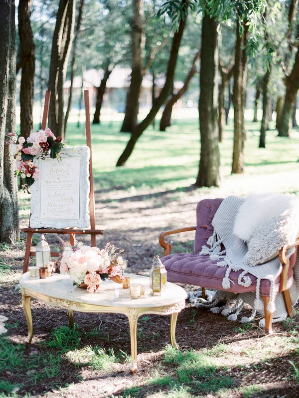 Luxurious bohemian wedding styling in woodland