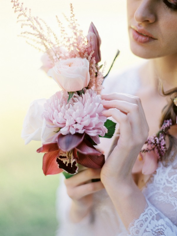 Bride holding small bouquet