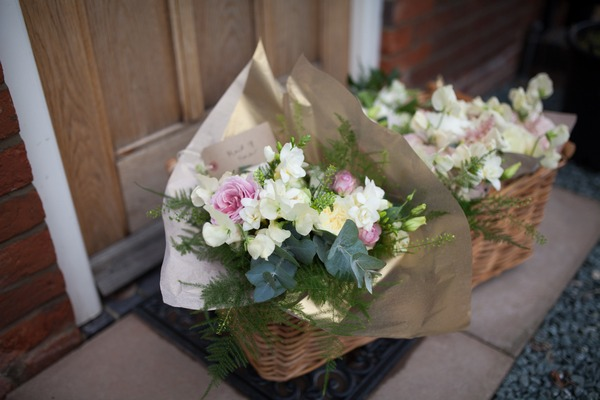 Wedding bouquets on doorstep