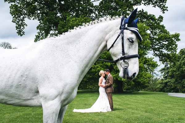 Horse with bride and groom in background under head - Picture by French Connection Photography