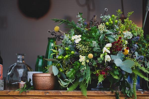 Bar with foliage arrangement