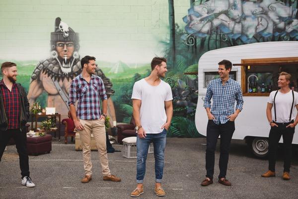 Men posing for shoot