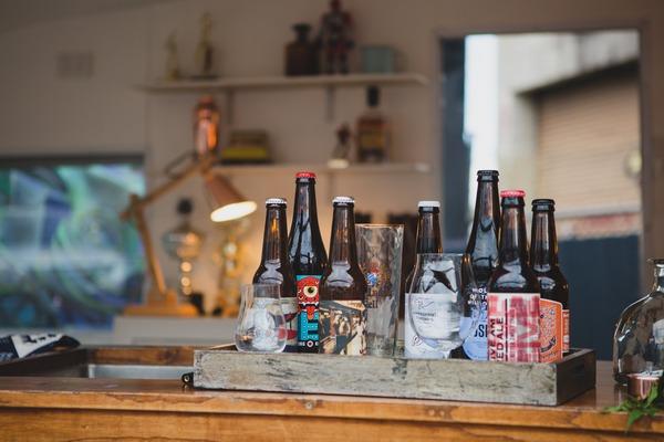 Bottles of beer on caravan bar