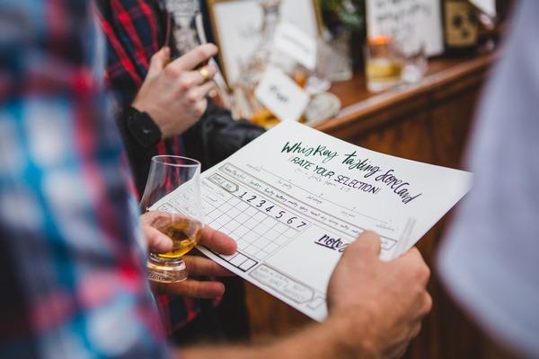 Whisky tasting score card