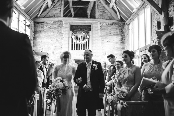 Father walking bride down aisle at Packington Moor wedding