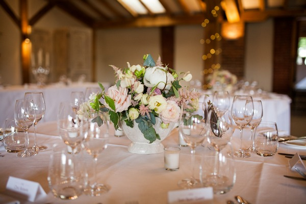 Floral wedding table centrepiece at Packington Moor wedding