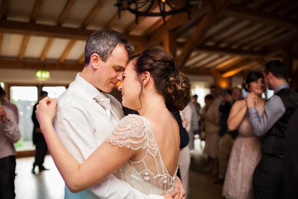 Bride and groom on dance floor at Packington Moor