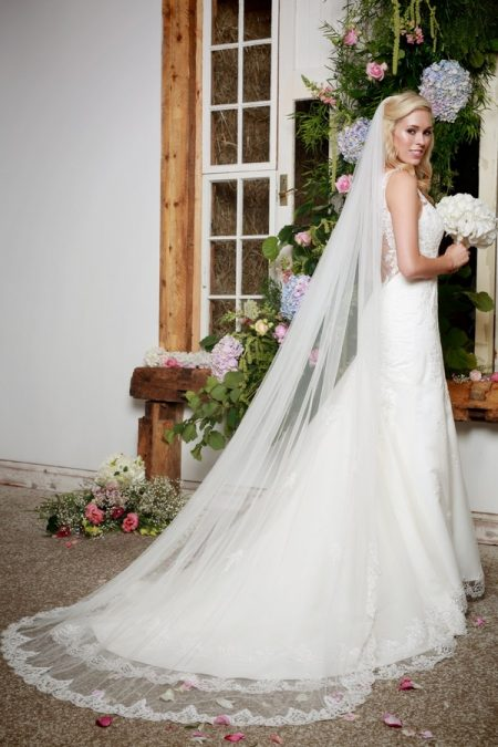 Back of Elenor Wedding Dress with Veil - Amanda Wyatt She Walks with Beauty 2017 Bridal Collection