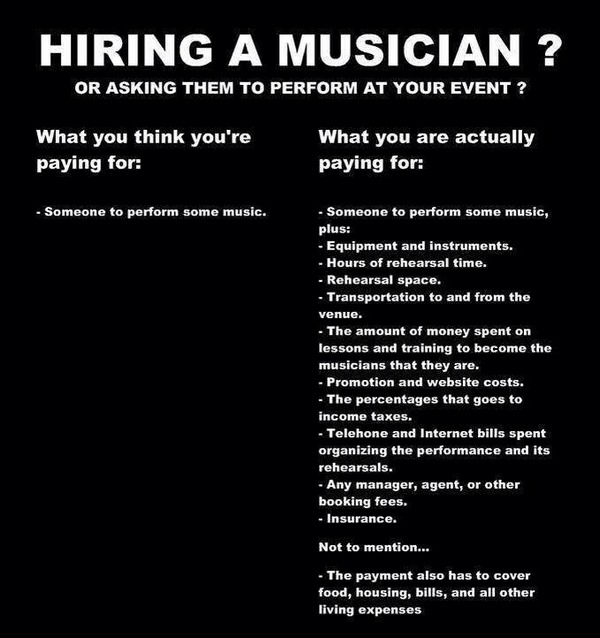 Hiring a musician - what you pay for