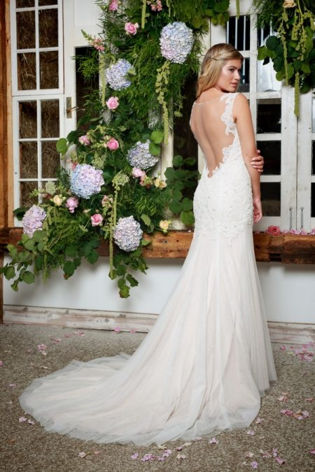 Back of Paola Wedding Dress in Champagne - Amanda Wyatt She Walks with Beauty 2017 Bridal Collection