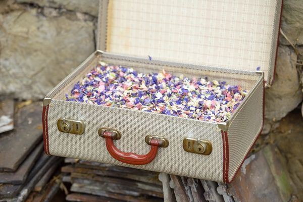 Vintage Suitcase Full of Confetti - Fun Ways to Display Confetti