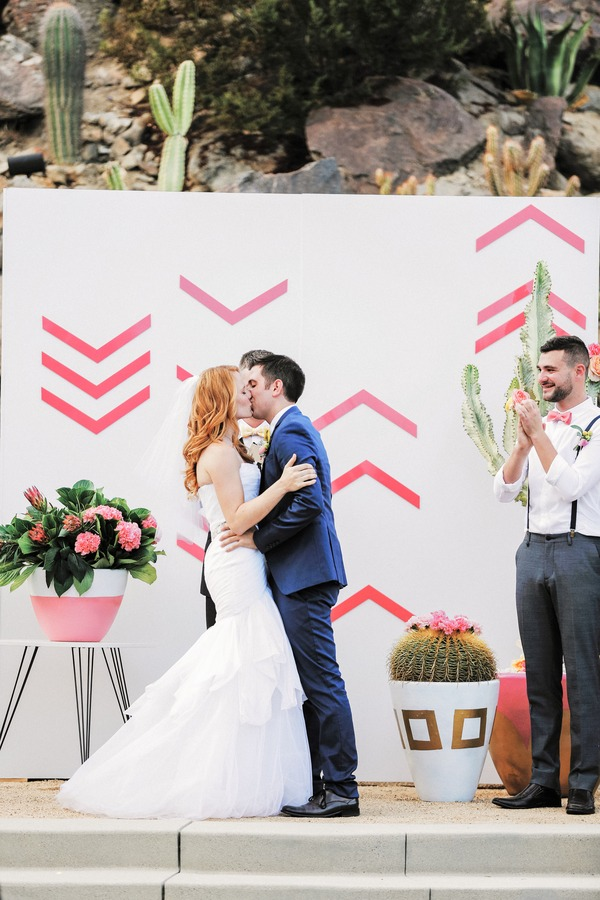 Katie Leclerc and Brian Habecost wedding kiss