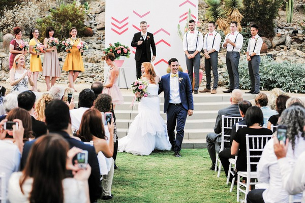 Katie Leclerc and Brian Habecost leaving wedding ceremony