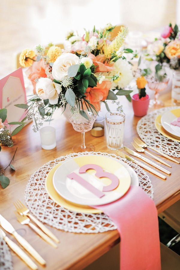 Wedding place setting with 13 on plate