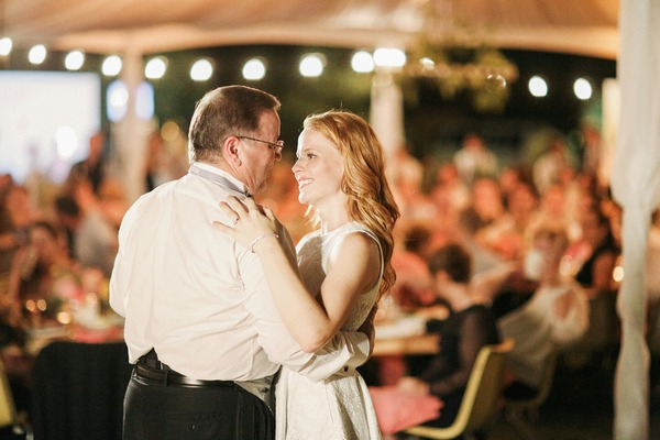 Katie Leclerc dancing with father at her wedding