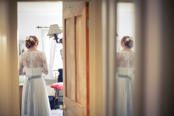 Back of bride's lace wedding dress