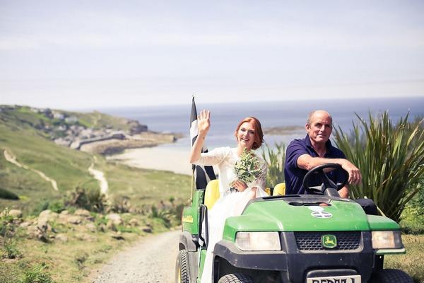 Bride being taken to wedding on buggy