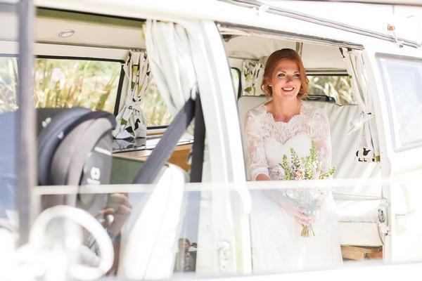 Bride in back of camper van