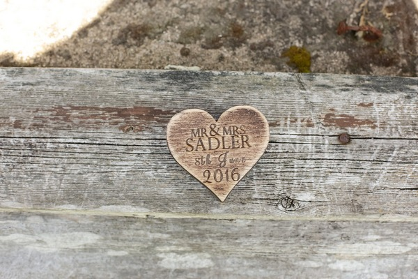 Engraved wooden heart for wedding rings
