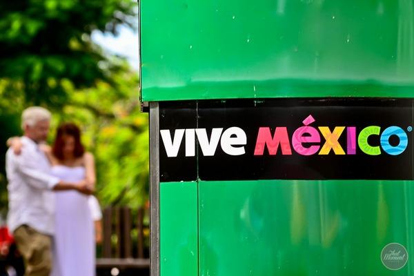 Bride and groom next to vive Mexico sign