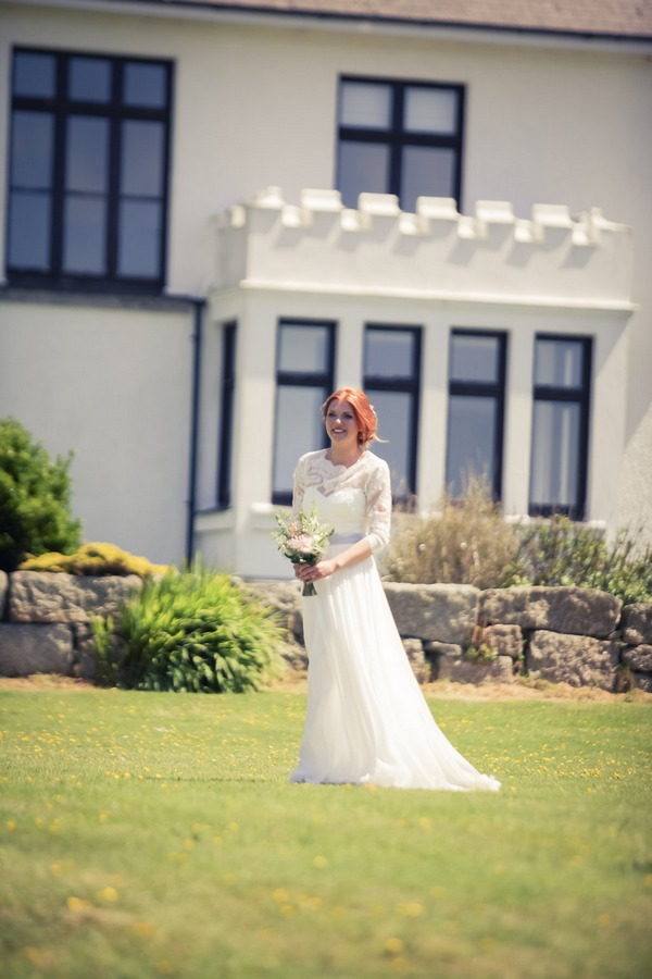 Bride walking towards groom for wedding ceremony