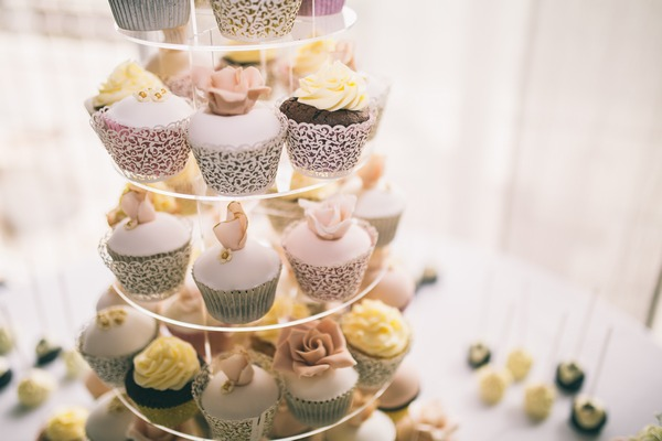 Tiers of wedding cupcakes