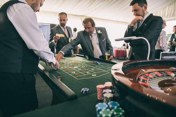 Blackjack table at Colshaw Hall wedding