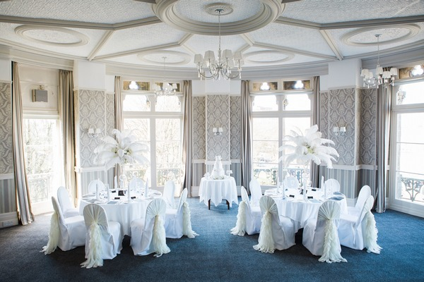 Wedding tables in The Hayward Room at The Duke of Cornwall Hotel