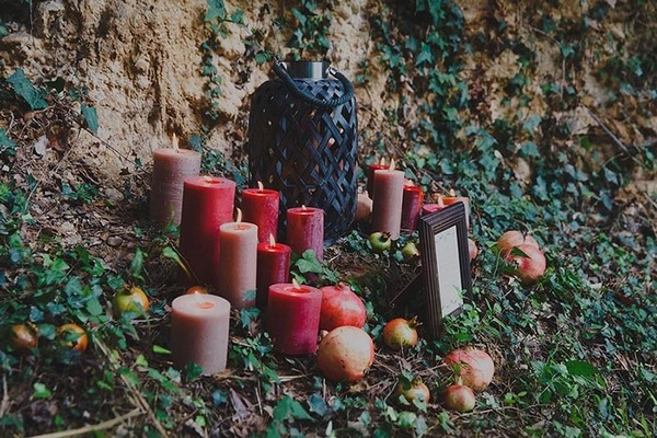 Candles in woods