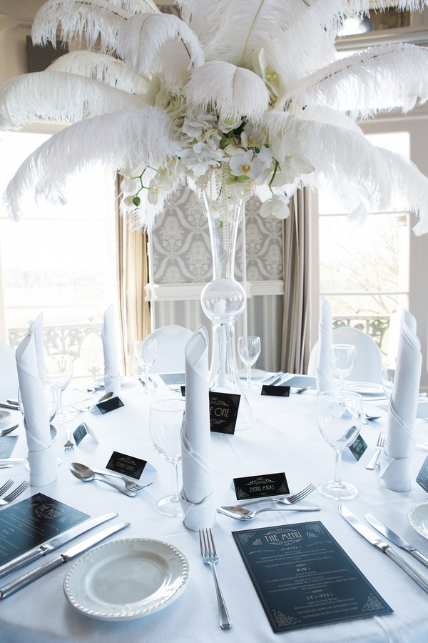 Feather wedding table centrepiece