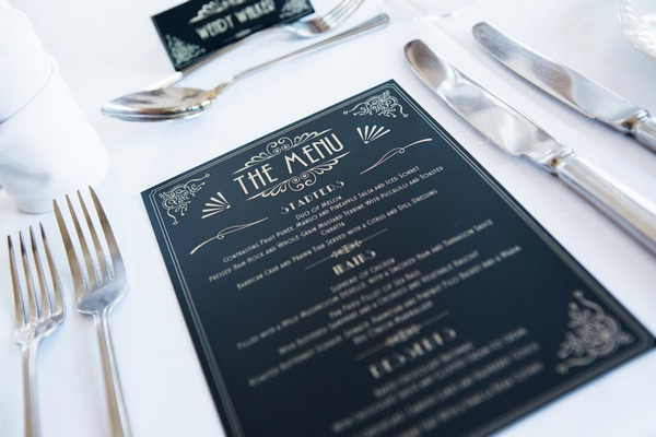 1950s style wedding menu