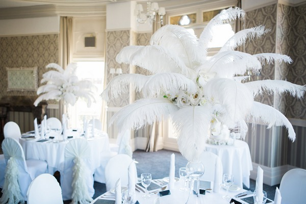 Large feather wedding table centrepieces