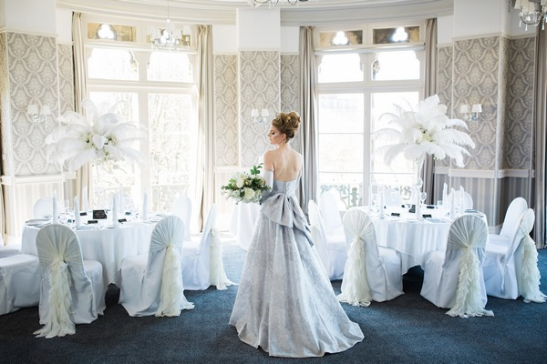 Back of bride's grey wedding dress