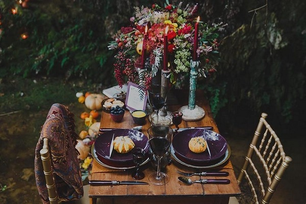 Rustic autumn table display