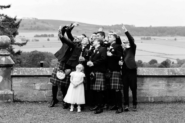 Wedding party taking a selfie - Picture by Chris Scott Photography